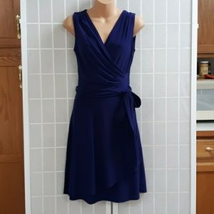41 HAWTHORN Rocco Jersey Faux Wrap Dress Navy XS